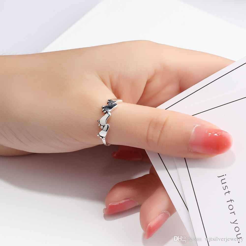Cute Baby Foot Print Ring 925 Sterling Silver Footprint Design Oxidised Toe Ring Simple Midi Rings Gifts For Women