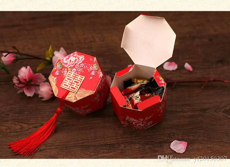 Double Happiness Vintage Chinese Style Paper Holders Sugar Candy Box Unique Sweet Box Wedding Favors Gifts