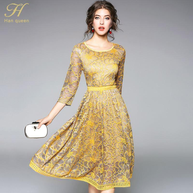 72a4108a13721 H Han Queen 2018 Summer Lace Dress Work Casual Slim Fashion O Neck Sexy  Hollow Out Dresses Women A Line Vintage Vestidos Ladies Evening Dresses  Petite Dress ...