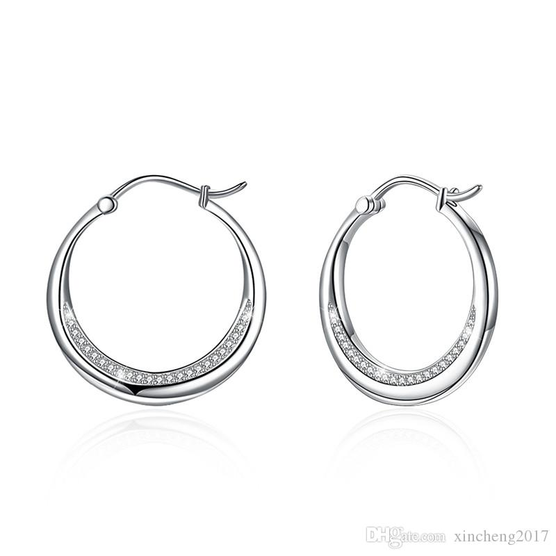 e9351e9e5 2019 New Fashion Crystal Big Round Earrings AAA Zircon 925 Sterling Silver  Jewelry White Stone Hoop Earrings For Women Gifts From Xincheng2017, ...