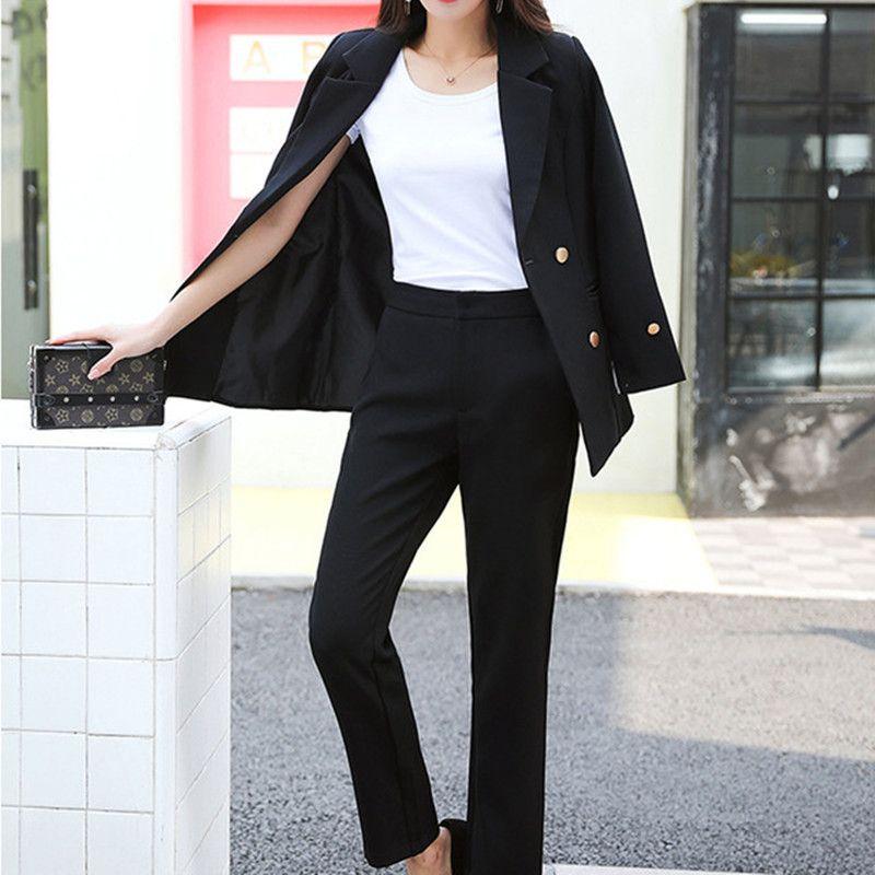 89459b7c4a3d Traje formal cruzado, traje casual cruzado, traje de dos piezas (chaqueta +  pantalón) de las nuevas mujeres calientes personalizadas para mujer
