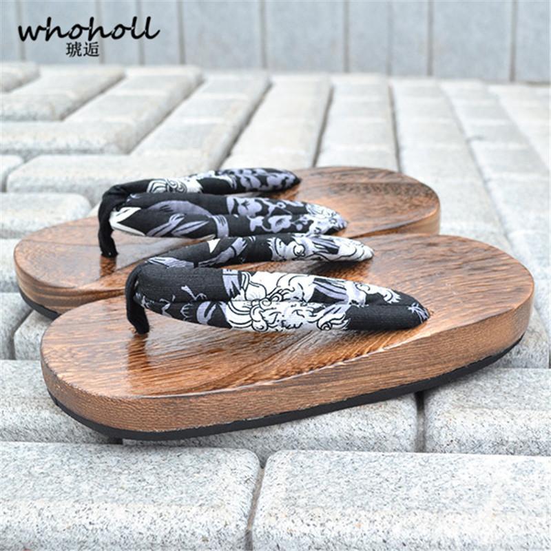 01c5c3c48db9 WHOHOLL Geta Summer Sandals Men Flat Platform Sandals Japanese Geta Wooden  Slippers Clogs Men Rubber Sole Flip Flops For Man Girls Sandals White  Sandals ...