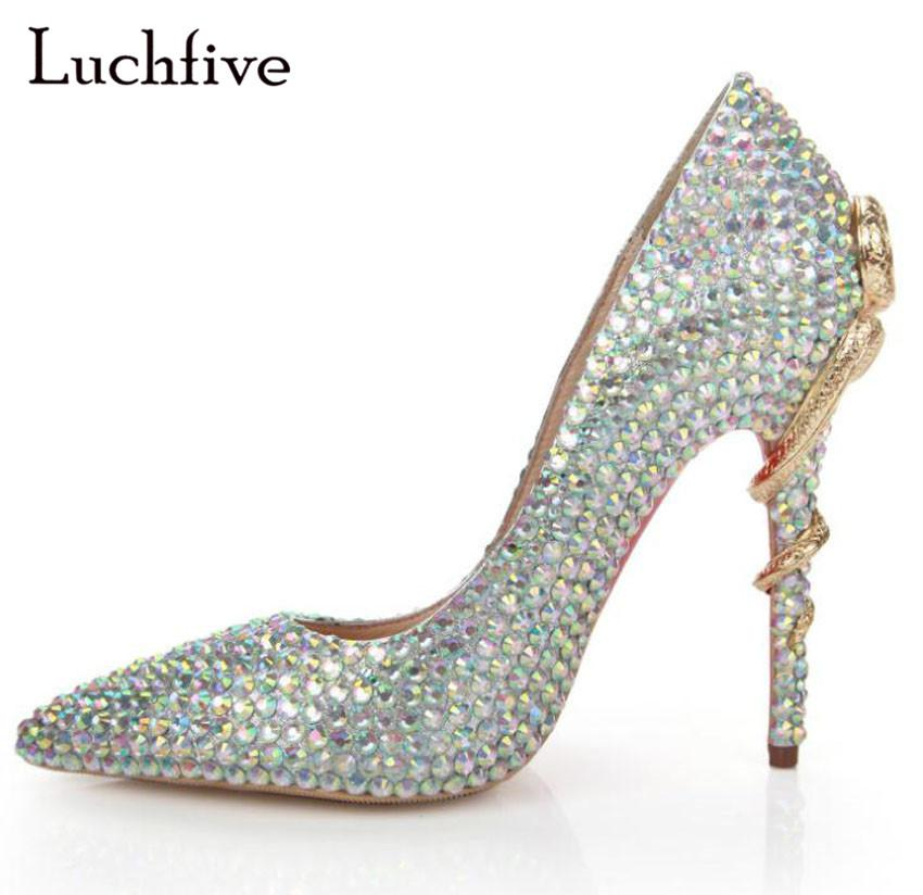 6b503e1ae160 Pointed Toe Women Pumps Metal Snake High Heels Jewel Pearl Stilettos Slip  On Party Shoes Woman Fashion Shallow Zapatos Mujer Suede Shoes Pumps Shoes  From ...