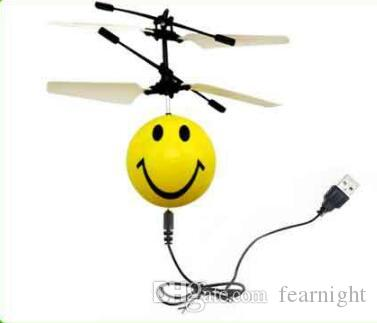 LilPals Emoji Mini RC Flying Magic Fun Illuminated Ball, RC Infrared Induction USB Helicopter Ball With Built-In Shinning LED Lighting