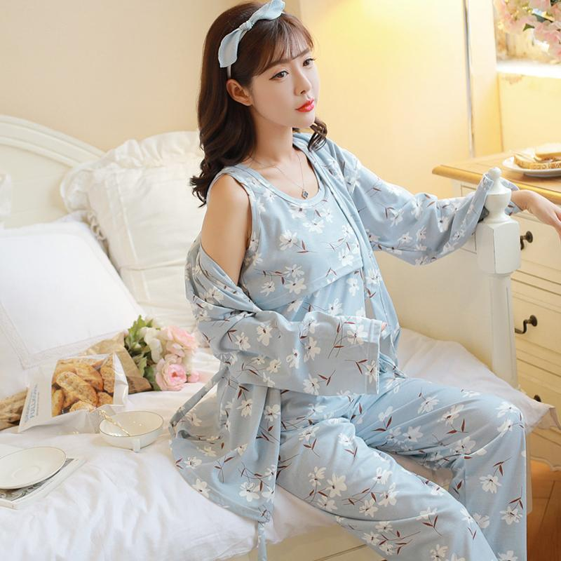 Cute Cotton Maternity Breastfeeding Suit Outfit For Pregnancy Pajama Women's Clothing Nursing