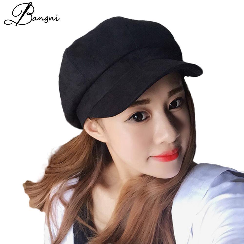 Compre Nuevo Invierno Mujeres Sombrero Boinas Gamuza Gorras Planas Mujer  Pastillero Sombreros Boina Boinas Mujer Gorro Sombrero Chapeu Feminino A   36.29 Del ... af2e552994d
