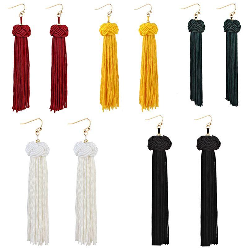 Handmade Tassel Earrings Trendy Black Red Yellow Green white Long Dangles Ear Broncos Silk Fringed Jewellery For Women