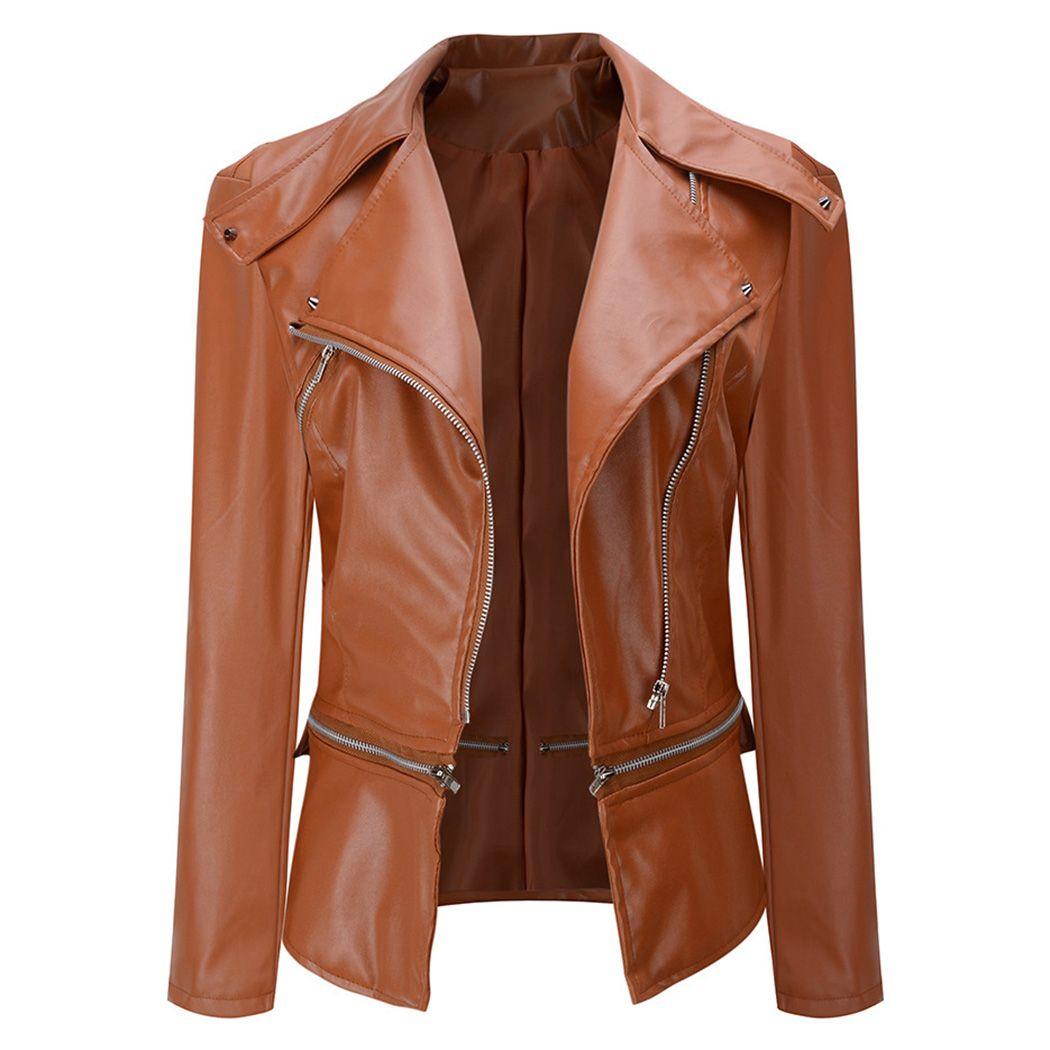 7e7caebc14e 2019 Fashion Women Faux Leather Bomber Jacket Gothic Punk Motorcycle Coats  Biker Jackets Cool Rivet Zipper Plus Size Outwear Female From Shuokai1995