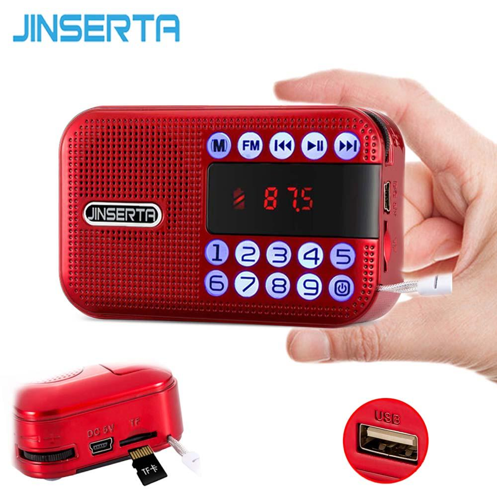 JINSERTA Mini FM radio Portable Digital Receiver Speaker MP3 Music Player Sepport TF Card U Disk Play with Rechargeable Battery