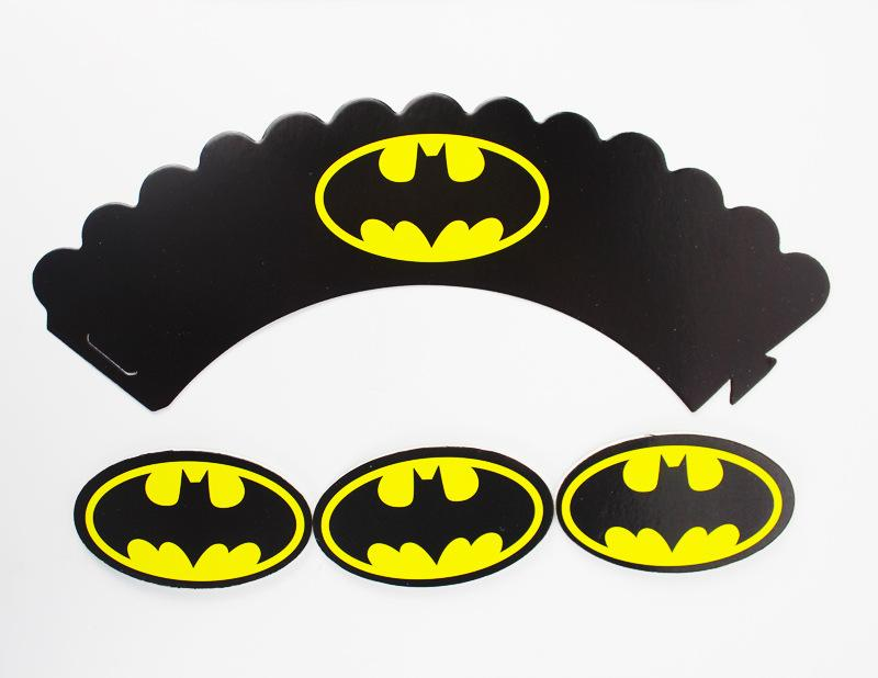 Bat Cupcake Wrappers Toppers Picks Decorations for Boys Kids Birthday Party Favors Supplies Comic Superhero