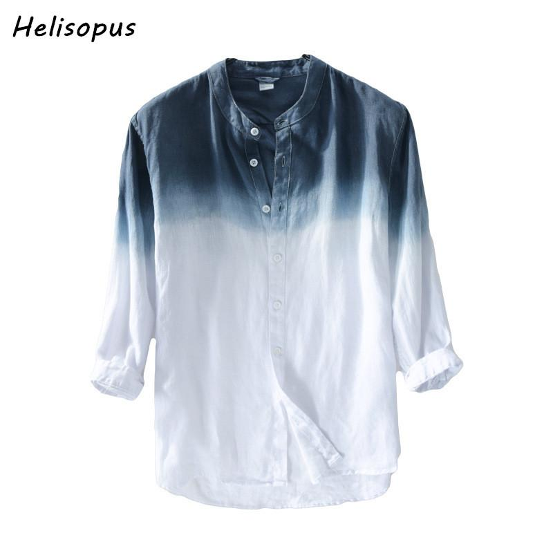 33e68a80a5d8 2019 Helisopus 2018 New Gradient Color Shirt Men Spring Summer Linen Cotton  Long Sleeve Shirts For Men Asian Size From Pingpo