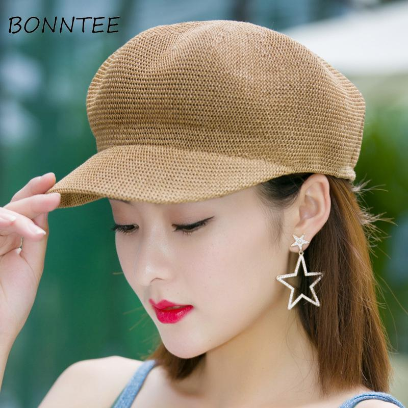 Women Caps Solid Adjustable Sunshade Breathable Travel Korean Style Elegant Womens  Summer Baseball Cap Sunscreen Mesh All Match Baseball Hats Newsboy Cap ... 1a52ab17c39