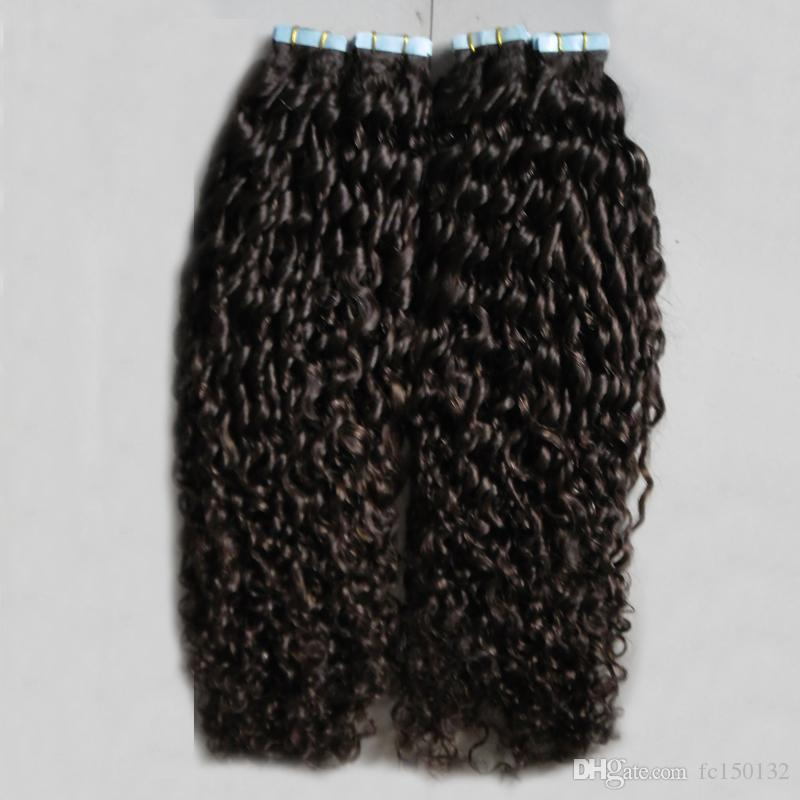 # 2 Marrom Escuro Mongol Cabelo Encaracolado Kinky 200G encaracolado extensões de cabelo fita fita na extensão do cabelo encaracolado