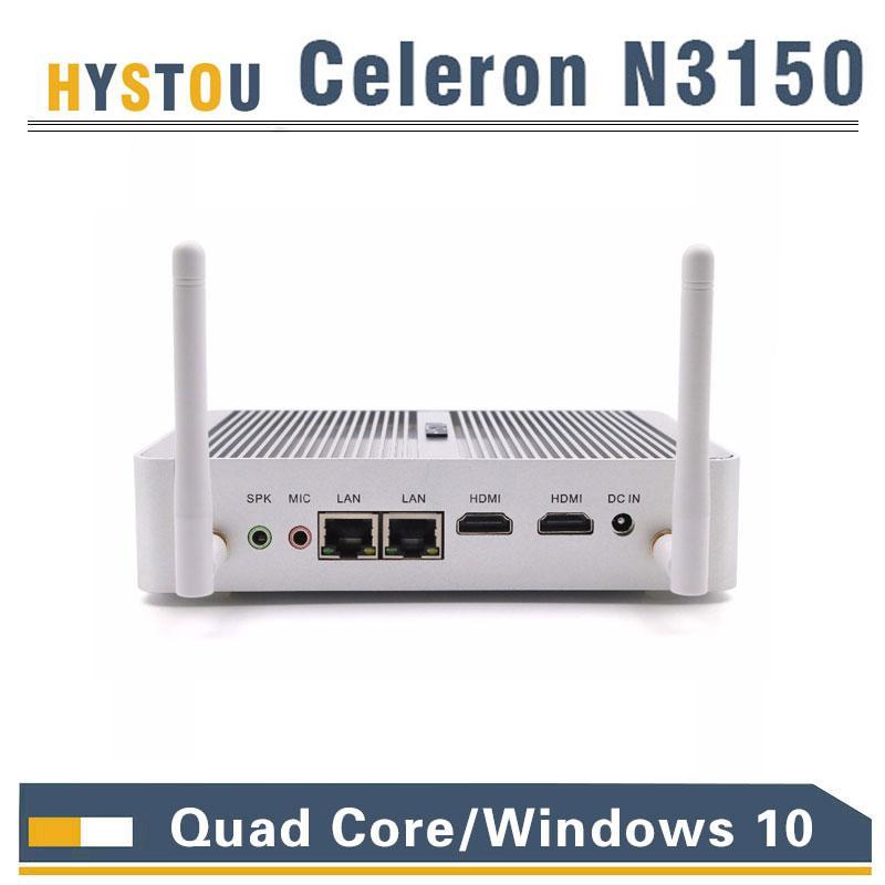 Quad Core Mini PC dual LAN intel Celeron N3150 N3050 CPU intel HD graphics  Braswell Core Windows10 micro PC 2NIC 16GHz 4K TV box