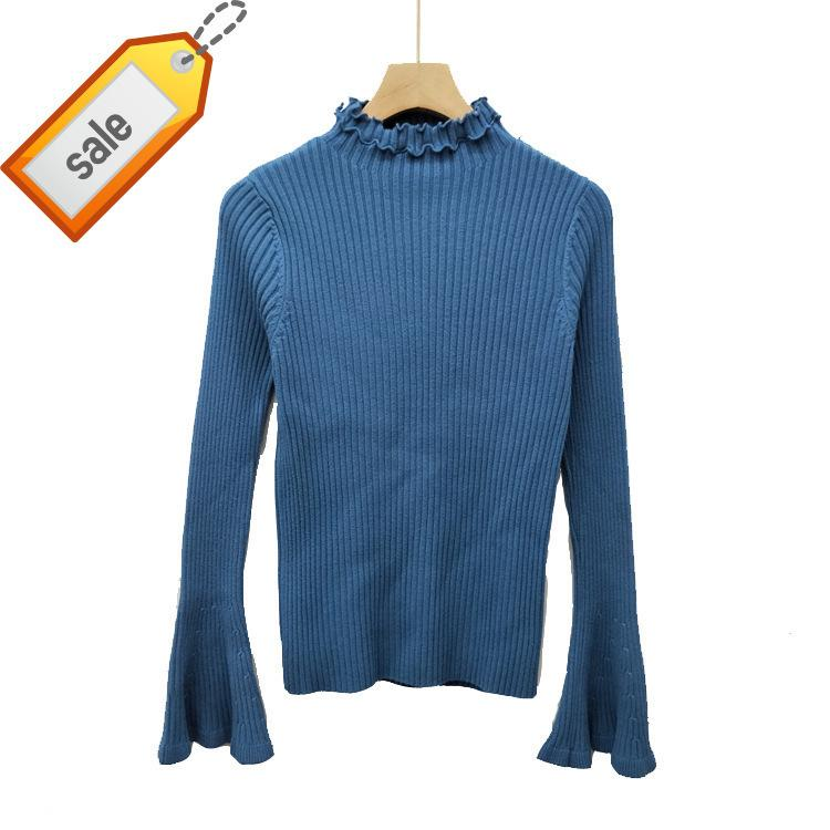 529fd86706e2 Horn Sleeve Lace T-shirts Pure Color Knitting Bottoming Blouses Sweater  Female 2018 Autumn And Winter Good Quality Sweaters Women Sweaters Knitting  Sweaters ...