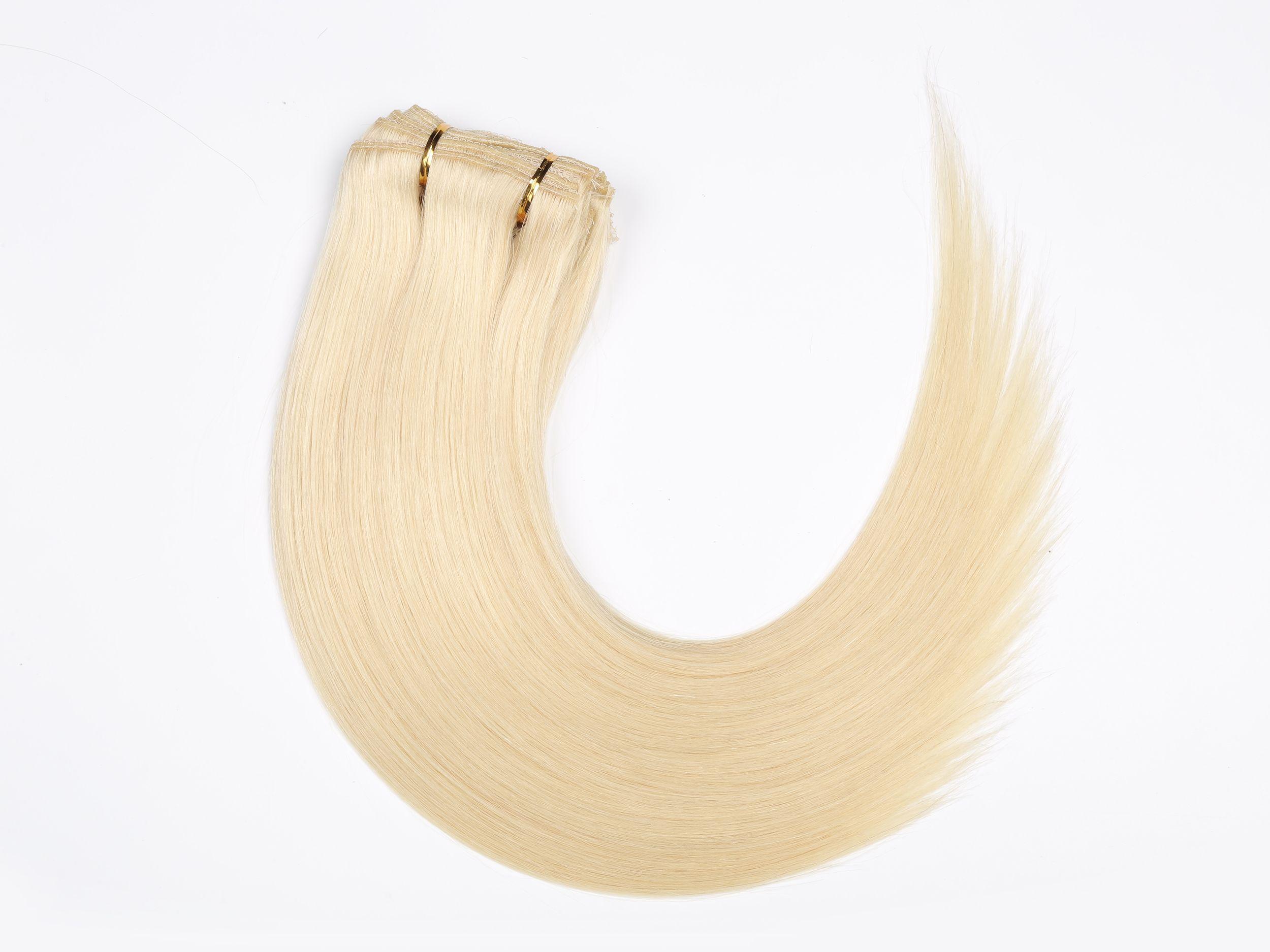 Blonde Seamless Clip In Hair Extensions 220g Virgin Remy Human Hair