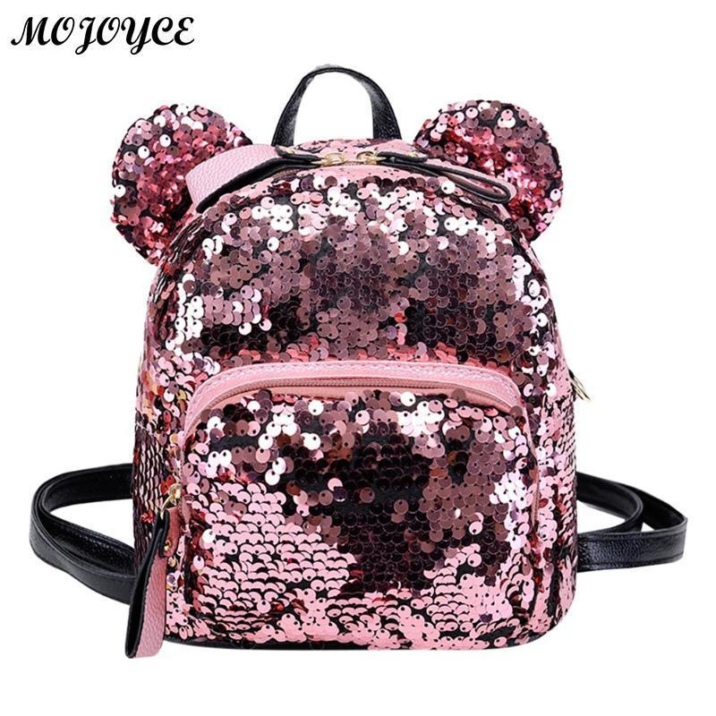 a796394ef194 Shining Women Sequins Backpacks Teenage Girls Travel Large Capacity Bags  Portable Party Mini School Bags Shoulder Bag For Lady Y18110201 Travel  Backpack ...