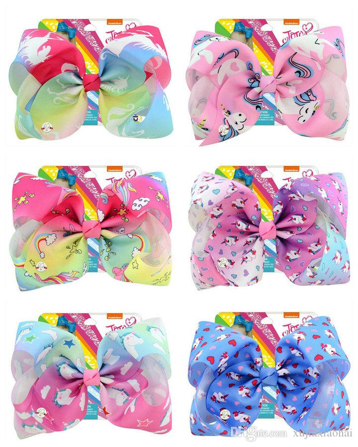 8 Inch Jojo bow unicorn hairpin 12 Designs huge bowknot headwear children party hair bow with cardboard