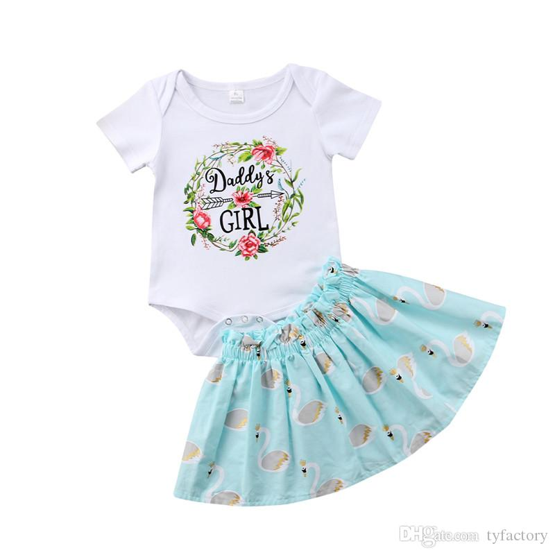 33d5c20dd9d 2019 2018 Floral Romper Swan Blue Skirt Baby Outfits Fashion Children Daddy  Girls Letter Print Dresses Kid Clothing Toddler Summer Boutique 0 2 From ...