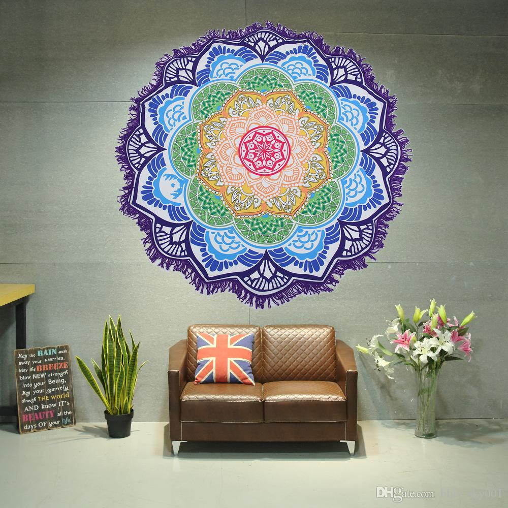 Admirable 2018 Newest Style Fashion Lotus Flower Round Beach Towel With Tassels Microfiber 150 Cm Picnic Blanket Beach Cover Up Dailytribune Chair Design For Home Dailytribuneorg