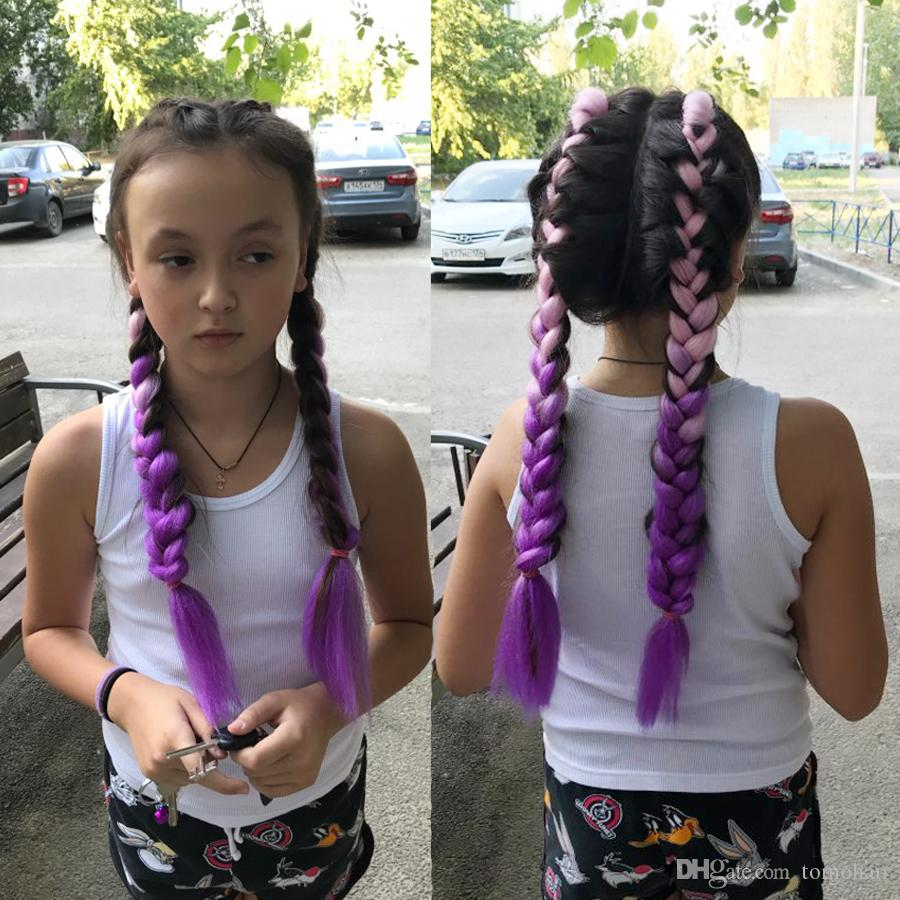 2019 Ombre Pink Purple Synthetic Xpression Braiding Hair 24inches
