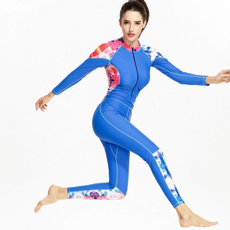 92c56eec1e 2019 One Piece Swimsuit Sport Swimwear Women 2017 New Swimming Bodysuit Long  Leg Pants Beach Wear Plus Size Bathing Suits Monokini From Zanzibar, ...