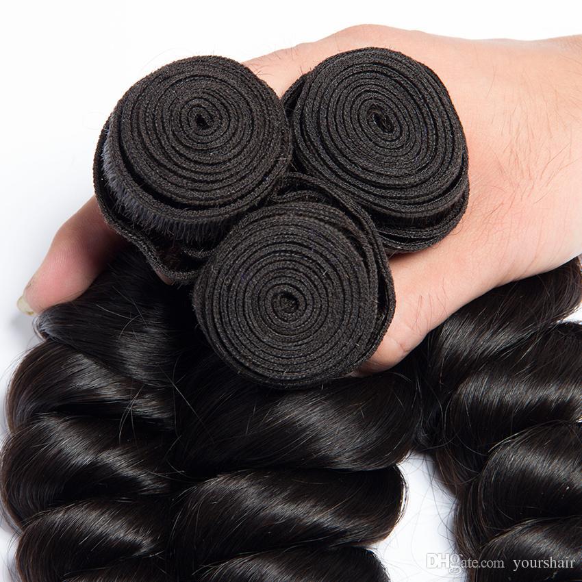 1 조각 저렴 한 페루 인간의 머리카락 Weft 느슨한 웨이브 처리되지 않은 브라질 머리 직조 무료 배송 당신에 대 한 좋은 헤어 번들