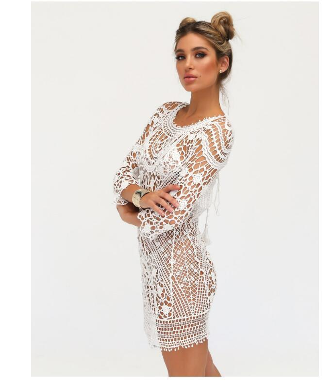 01cf0bb0caf44f Sexy Swimwear Bikini Lace Beach Cover Up White Swimsuit Cover Up Fashion  Women Beach Wear Hollow Knit Swimsuit Casual Dresses Tunic Dress White  Dresses For ...