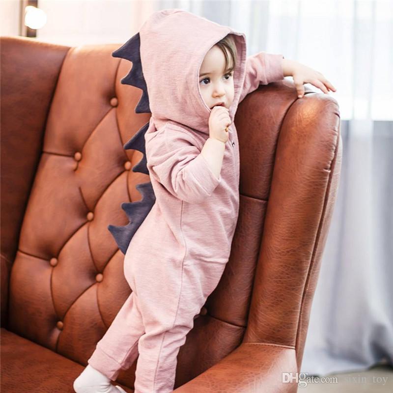 Baby-Dinosaurier-Spielanzug-Ins Baby-Ausstattungs-lange Hülsen-Jungen-Mädchen Hooded Outwear Overall-Spielanzug-Baby-Säuglings-Kleidung Spielanzug-Playsuit