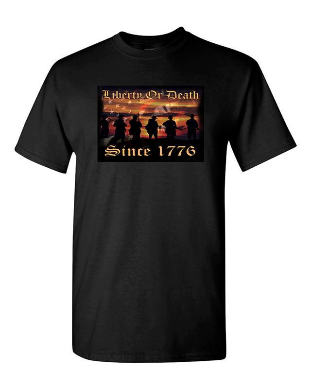 8fcff68a0 Custom Shirts Online Print Gun T Shirt,Fire Arm T Shirt Liberty Or Death  Since 1776 Unisex T Shirts Men O Neck Short Sleeve Tee Printed T Shirt  Funny T ...