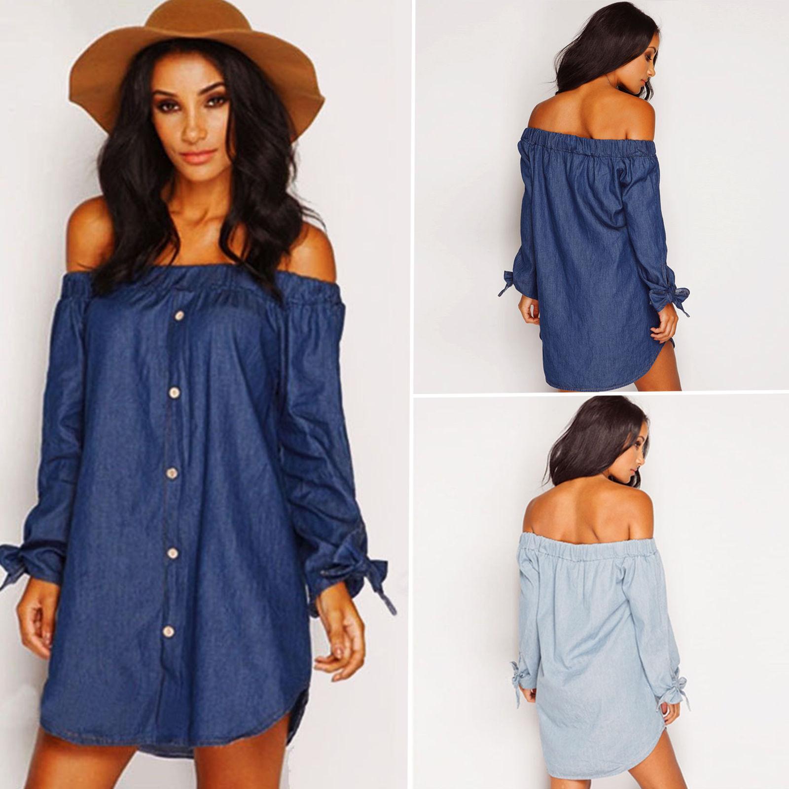 ee19e9b9b541b Dresses Women Denim Off Shoulder Dress Long Sleeve Denim Shirt Summer Sexy  Dress Tops Elegant Shirt Dresses Loose Slash Neck Blouse BBA154 Halter Dress  Blue ...
