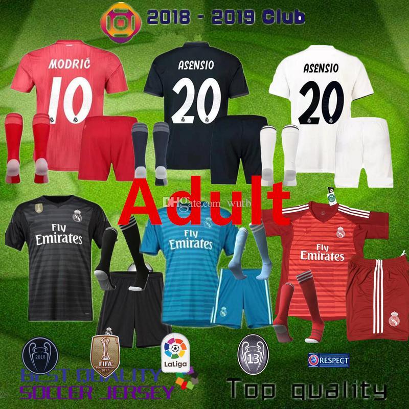 37727b582 18 19 Real Madrid Soccer Jersey Kit Away Soccer Shirt 2018 2019 KROOS ISCO  ASENSIO BALE MODRIC Third Red Football Uniform 3rd Goalkeeper Real Madrid  MODRIC ...