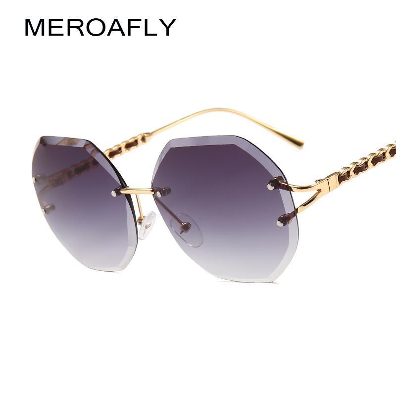9752ed1450 Compre MEROAFLY Gafas De Sol Sin Montura Redondas Mujeres Accesorios De  Verano Lente De Gradiente Octágono Gafas De Sol Para Damas Poligonal UV400  Metal A ...
