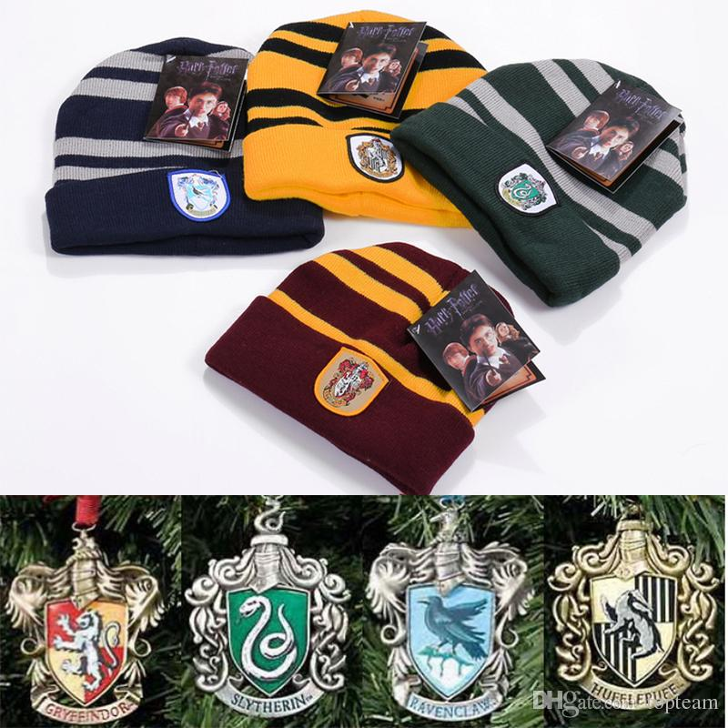 Harry Potter Hogwarts Beanie Hat Gryffindor Slytherin Hufflepuff Ravenclaw Cap Warm Knit Cosplay School Striped Badge Hats TC181025 Printable Birthday