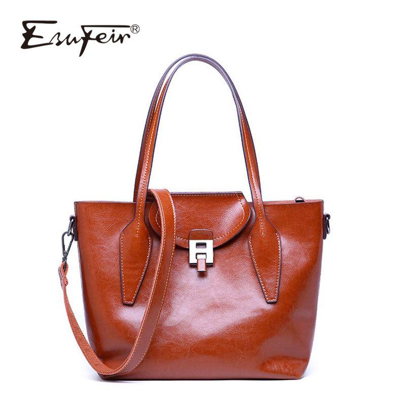 ESUFEIR Oil Wax Leather Women Handbags Vintage Shoulder Bag Crossbody Bag  Luxury Designer Casual Tote Large Capacity Tote Handbags Wholesale Purses  For Sale ... a88b5fe90dd82