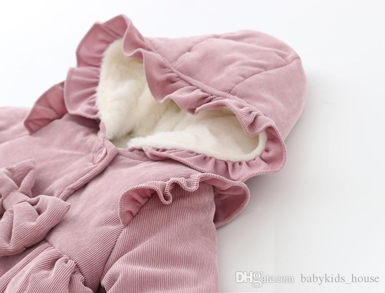 Caldo Inverno Neonate Neonati Bambini Snow Wear Ruffles con cappuccio Bow Principessa Velluto Addensare Giacca Coat Outwear