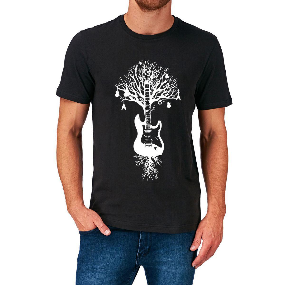 GUITAR TREE T SHIRT ELECTRIC ACOUSTIC STRINGS PLECTRUM BIRTHDAY GIFT PRESENT Short Sleeve T-Shirt Funny Print Top Tee