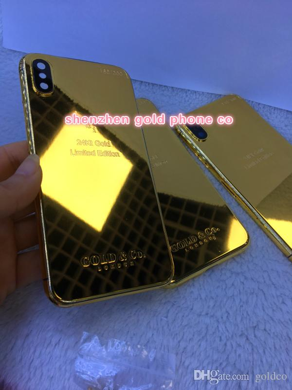 Newest For iPhone x Housing real gold with diamond Complete Back Battery Cover Metal Middle Frame Black Red Replacement Part goldco