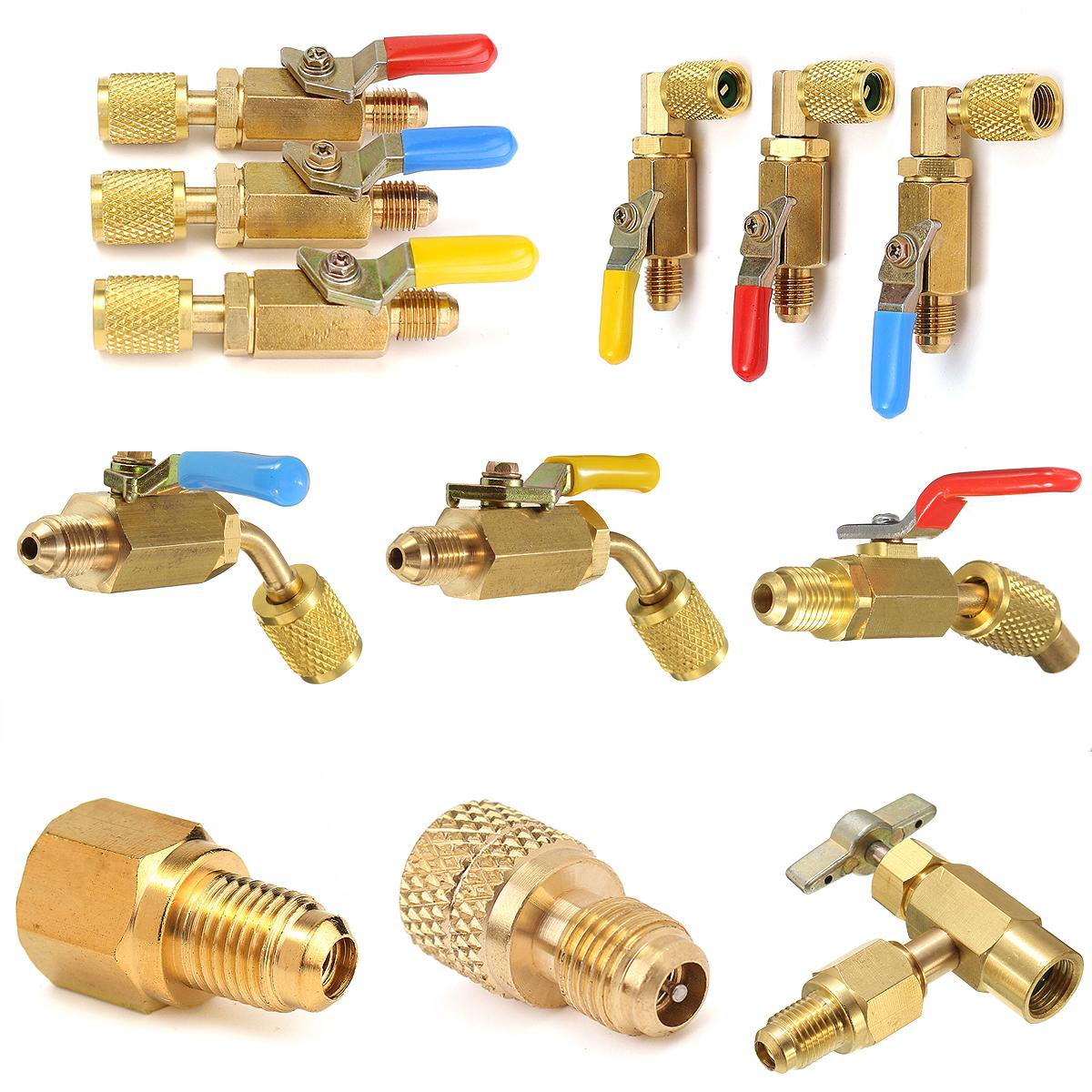 Car AC R12 To R134A Valve Fitting Adapter 1/4 Male To 1/2 Female ACME &  Valve Core Car Air-condition Refrigerant Brass Adapter