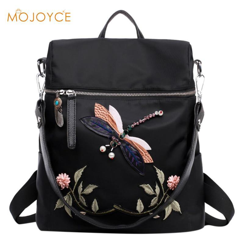 97c56e0407 Women S Backpacks Girl 3D Dragonfly Flower National Embroidery Print Handmade  Dragonfly Woman Shoulder Bags 2017 Brand Fashion Best Laptop Backpack  Wheeled ...