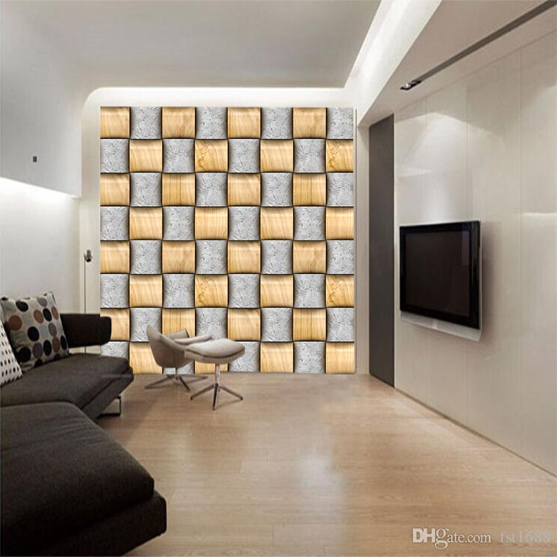 3D Vision Woven Square Grey And Yellow Interlaced Customized Modern Wallpaper The New Abstract Geometric Figure Wall Mural Home Decoration