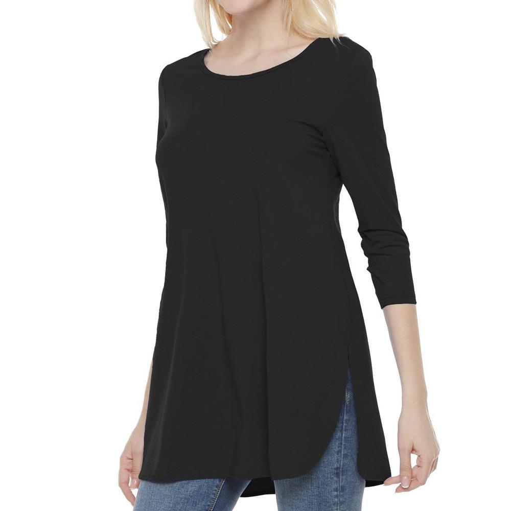 8adf985bbc4 ISHOWTIENDA Women T Shirt Side Slit Tops Tshirt Women Long Sleeve Summer  Solid Black Casual O Neck T Shirt Top Buy Cool Shirts Online Funny T Shirt  Sites ...