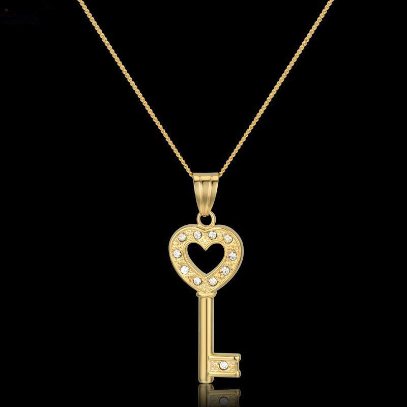 2018 romantic heart key pendant necklace women zirconia jewelry 2018 romantic heart key pendant necklace women zirconia jewelry brand new trendy gold color pendant necklaces ethnic accessories from kepiwell5 aloadofball Image collections