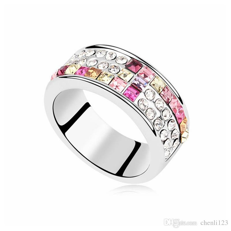 wide selection of colors official shop the best attitude Engagement Rings Crystal from Swarovski For Women Gorgeous Club Jewelry  Sexy Dance cocktail party dress accessories