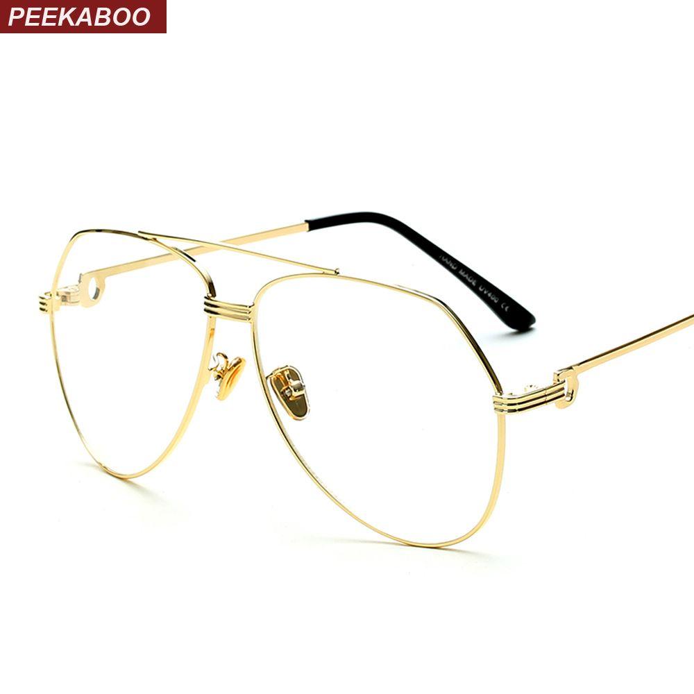 41beb06095ab1 2019 Peekaboo Gold Eyewear Frames Men Brand Designer High Quality Flat Top  Clear Lens Men Eye Glasses Frames For Women From Htiancai