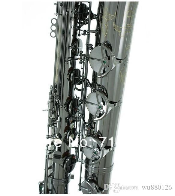 Marca Sassofono baritono Strumenti musicali a fiato di alta qualità Corpo in ottone superficie nichelata con custodia musica jazz