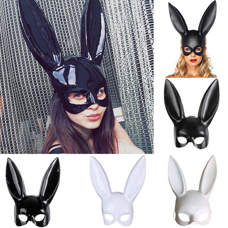 4styles Halloween Party Rabbit Ears Mask Masquerade Sexy Bunny Masks  Cosplay Costume Black White Carnival Halloween Decoration FFA745 Face Masks  Party Face ...