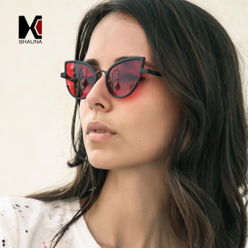 Shauna Frame Color Eye Yellow Sun Glasses Fashion Women Cat Metal Sunglasses Candy Clear Red Blue Half 0wvNOym8nP