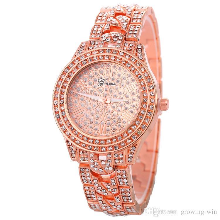 Ginebra mujeres señoras de la manera reloj inoxidable relojes de diamantes completo de aleación de metal de la muñeca del vestido mayor de los zapatos del partido de cuarzo roma