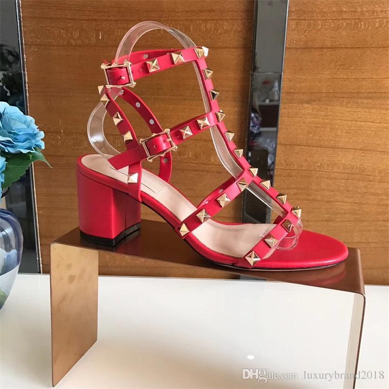 7f3311a86 Compre Senhoras Sandálias De Salto Grosso Estilo Europeu E Americano  Designer De Sandálias De Alta Qualidade Para As Mulheres De Salto Alto 6.5  CM Decoração ...